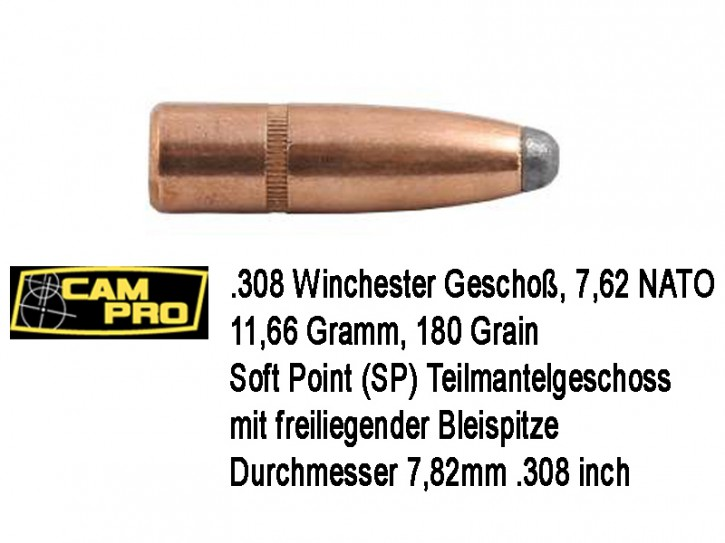 308: 250 x .308 Winchester Match Geschoß CamPro 7,62 NATO 11,66 Gramm 180 Grain Soft Point Teilmantel JSP