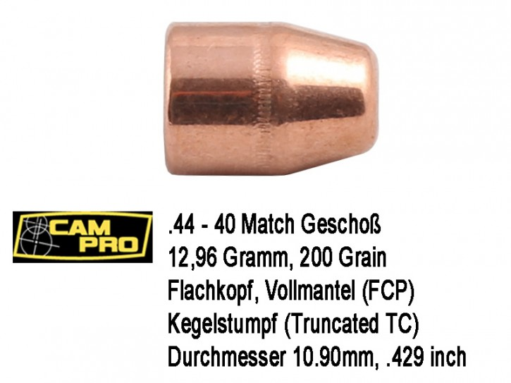 .44-40 Win : 500 x CamPro Geschoße .44-40 TC FCP 12,96 Gramm 200 Grain Match Vollmantel Flachkopf 10,846mm .427