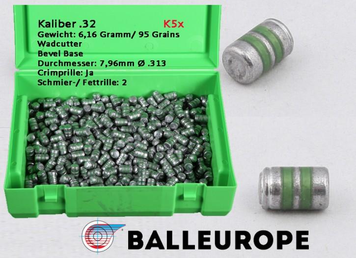 .32: 95 Grain 500 Blei Geschosse .32 S&W, Wadcutter WC, Bevelbase BB 6,16 Gramm 7,96mm, 313 inch  Balleurope