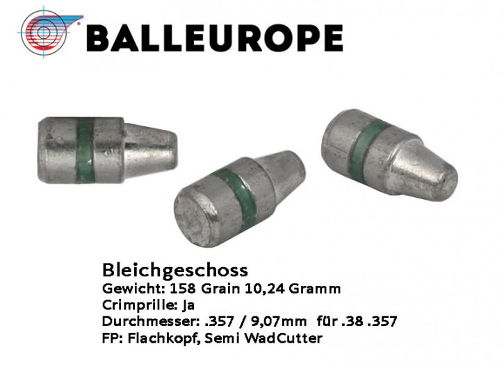 357: 500 Stück Bleigeschosse 158 Grain 10,24 Gramm .357 Magnum .38 Special Wadcutter WC Hollow Base von Balleurope für Revolver Kaliber mit Crimprille