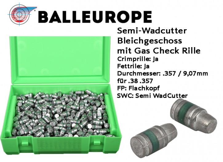 357: 500 Stück Bleigeschosse 158 Grain 10,24 Gramm .357 Magnum .38 Special vorbereitet für GasCheck mit Rille, Fettrille, Crimprille, Semi-Wadcutter