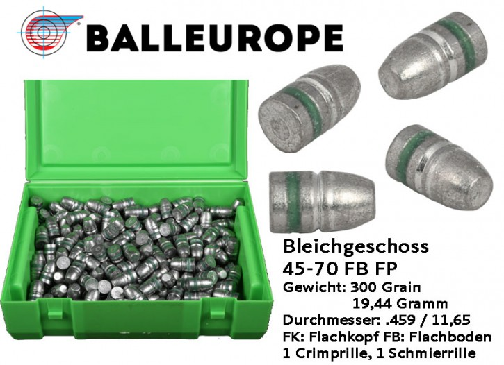 .45-70: 250 Stück Geschosse 45-70 300 Grain 19,44 Gramm Bleichgeschoss .459 11,65mm .45-70 Government .459  Balleurope