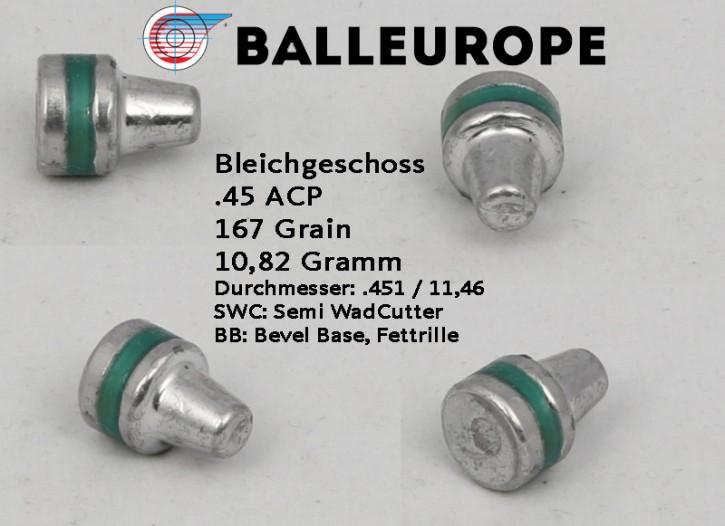 45 ACP: 500 Stück 167 Grain 10,82 Gramm Bleigeschoß, SWC BB, Kaliber 45 Balleurope