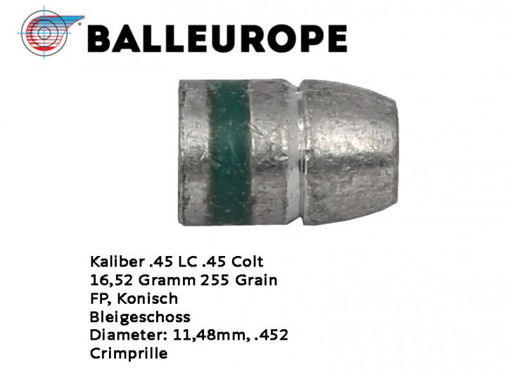 .45 Long Colt: 250 Blei-Geschoße .45 Long COLT Kaliber .45LC FP 16,52 Gramm 255 Grain Flachkopf Balleurope Geschoß