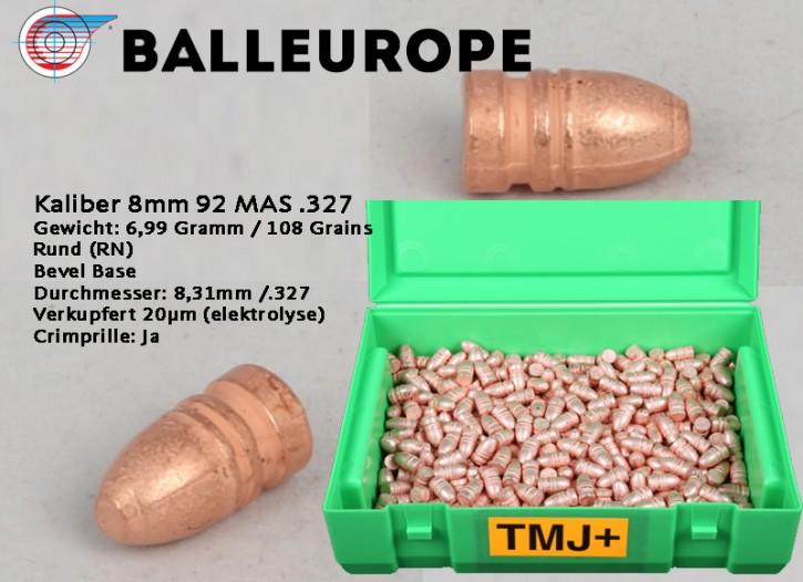 8mm: 500 Kupfergeschosse für 92 MAS .327 Gewicht: 6,99 Gramm 108 Grains Rund (RN) Bevel Base