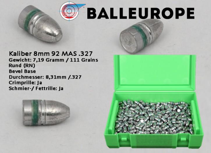 8mm: 500 Bleigeschosse für 92 MAS .327 Gewicht: 7,19 Gramm 111 Grains Rund (RN) Bevel Base