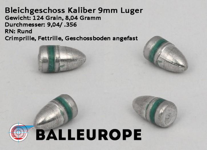 9mm: 124 Grain: 500 Stück Blei Geschosse 9mm Luger 124G/ 8,04 Gramm 9.02mm .355mm Crimprille - Balleurope