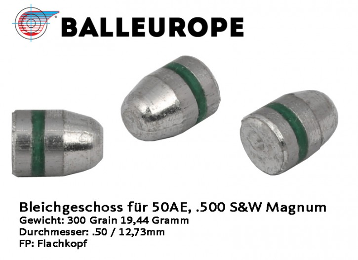 .50 AE: 250 Stück Geschosse 50 AE .50AE .500 S&W Magnum 300 Grain Balleurope12,73mm 19.44 Gramm Rille FP CN
