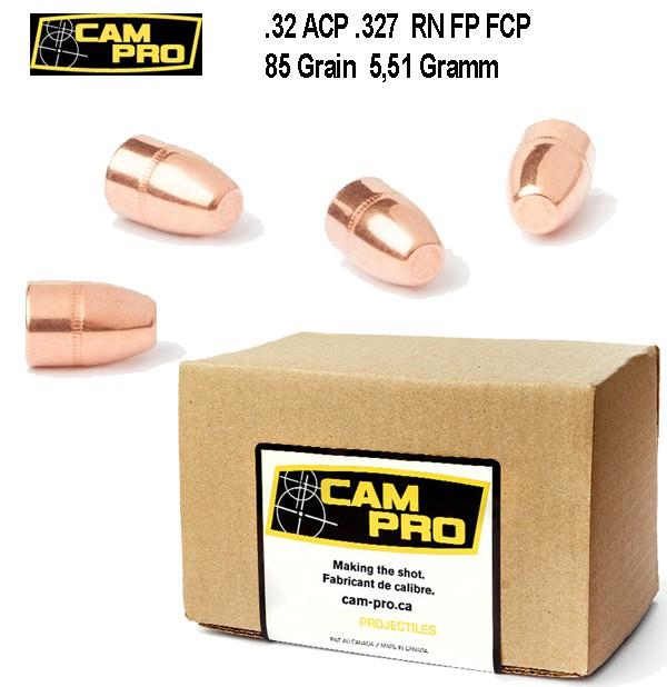 500 x .32 S&W 85 Grain 5,51 Gramm H&R Magnum .327 Federal 32 ACP RN FCP Vollmantel CAMPRO Geschoß