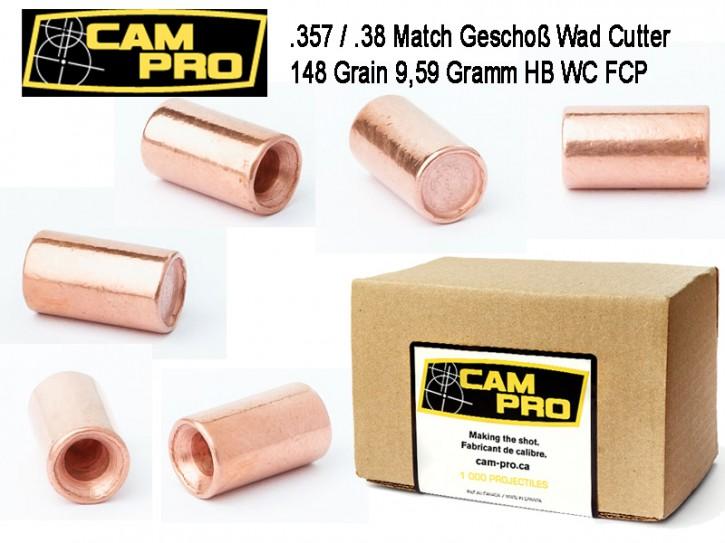 357: 500 Stück Geschosse 148 Grain 9,59 Gramm .357 Magnum .38 Special Wadcutter WC Hollow Base von CamPro Revolver Kaliber mit Crimprille