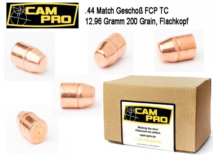 .44: 500 x CamPro Geschoße Kaliber .44 TC FCP 12,96 Gramm 200 Grain Match Geschosse für Revolver Vollmantel Flachkopf