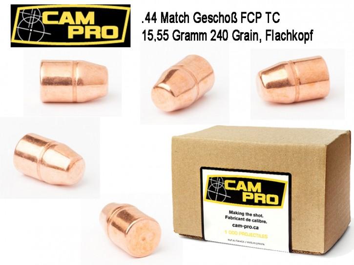 .44 Magnum : 500 x CamPro Geschoße Kaliber .44 TC FCP 240 Grain 15,55 Gramm Match Geschosse für Revolver Vollmantel Flachkopf