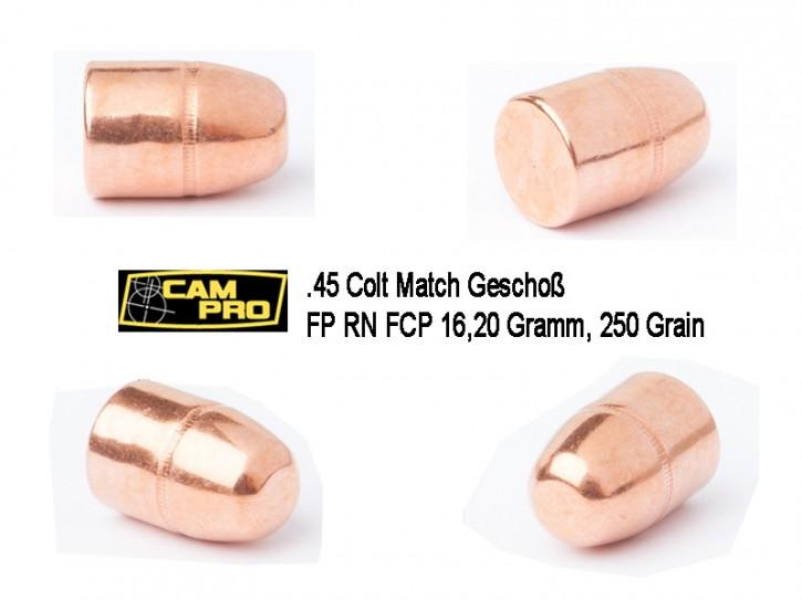 45 Colt: 500 Stück.45 LC Long COLT  Match Geschosse 230 Grain 14,9 Gramm, FCP 250 Grain 16,20 Gramm, Kaliber 45 LC CamPro Kurzwaffe Pistole