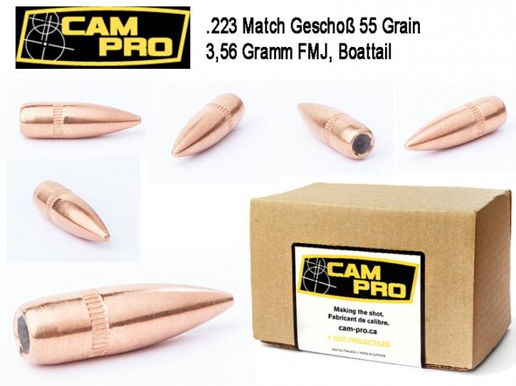 .223: 500 Match Geschosse CamPro .223 Rem. 5,56 × 45 FMJ BT 55 Grain 3,56 Gramm Projektil Geschoß 224, 5.69
