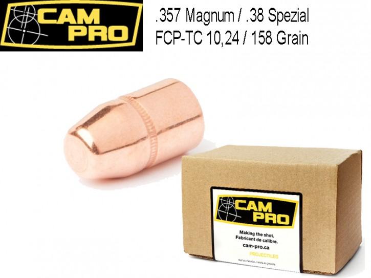 357: 500 Stück Geschosse 158 Grain 10,24 Gramm .357 Magnum .38 Special FCP TC von CamPro Revolver Kaliber mit Crimprille
