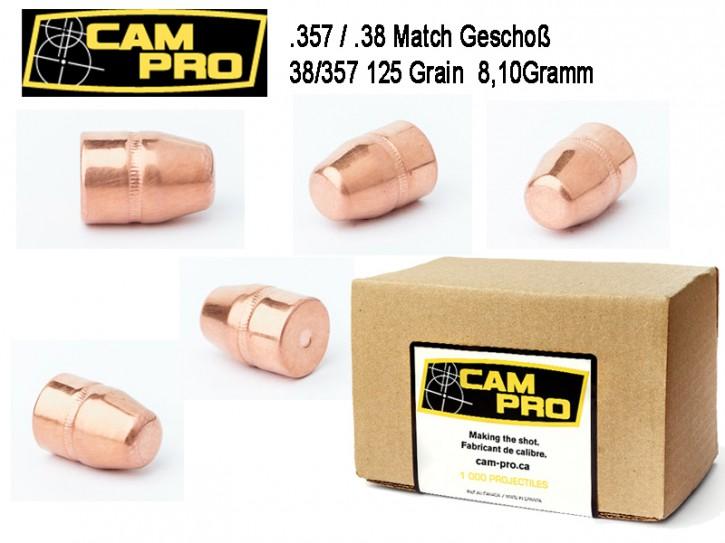 357: 500 Stück Geschosse 125 Grain 8,1 Gramm .357 Magnum .38 Special FCP TC von CamPro Revolver Kaliber mit Crimprille