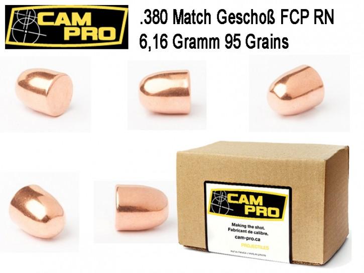 .380: 500 x Geschoße .380 95 Grain 6,16 Gramm RN FCP Matchgeschoß Projektil CamPro 380 ACP Colt .355 9,017