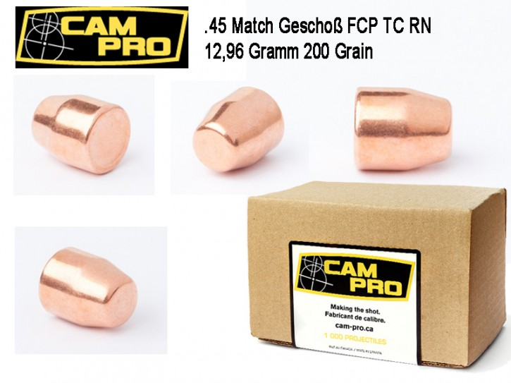 45 ACP: 500 Stück .45 ACP Match Geschosse FCP TC 200 Grain 125,96 Gramm FCP. Kaliber .45 ACP von CamPro