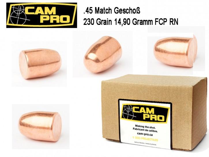 45 ACP: 500 Stück .45 ACP Match Geschosse 230 Grain 14,9 Gramm, FCP RN, Kaliber 45 CamPro Kurzwaffe Pistole
