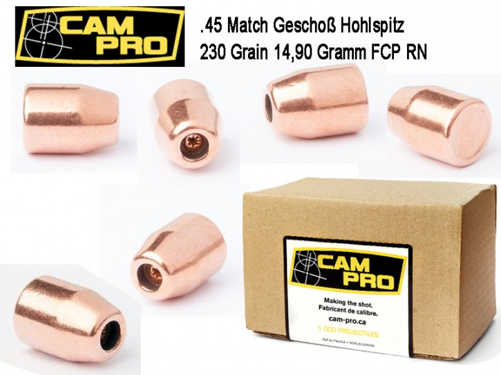 45 ACP: 500 Stück .45 ACP Match Geschosse 230 Grain 14,9 Gramm, FCP Hohlspitz HP, Kaliber 45 CamPro Kurzwaffe Pistole