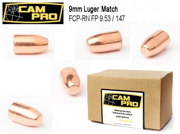 9mm: 500 Stück 9mm Match Geschosse FCP RN 147 Grain 9,53 Gramm. Kaliber 9mm Luger von CamPro Kurzwaffe Pistole