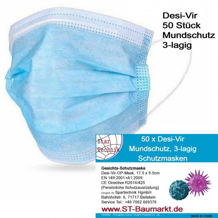 50 Stück Desi-Vir Mundschutz, 3-lagige Nasen-Mund Schutzmasken, Größe 17.5 x 9.5cm, bester Tragekomfort