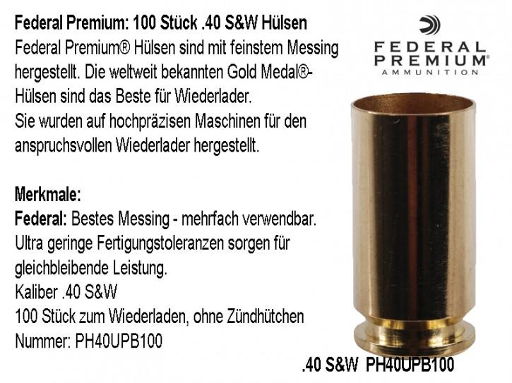 Federal Premium : 100 Stück .40 S&W Hülsen, unprimed