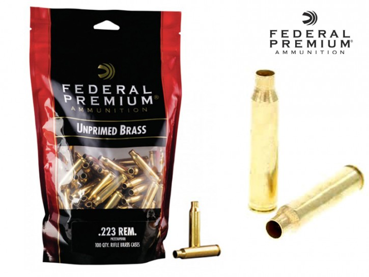 Federal Premium: 100 Stück .223 Remington Hülsen, unprimed