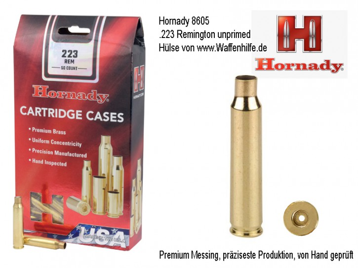 Hornady: 50 Hülsen Kaliber .223 Remington, unprimed