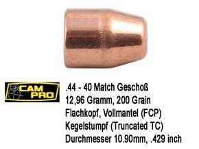 .44-40 Win : 500 x CamPro Geschoße .44-40 TC FCP 12,96 Gramm 200 Grain Match Vollmantel Flachkopf 10,846mm .427
