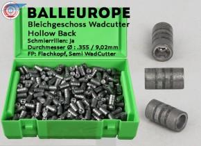 .357 Magnum 38 Special: Ø.355 148 Grain 9.59 Gramm 500 Blei Geschosse:  Rillen Wadcutter WC Hollow Back HB Balleurope K29