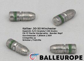 .30-30 Winchester Bleigeschoss 500 x Geschosse 9.72 Gramm 150 Grains 7.85 .309 Balleurope .30 WCF Flach L50