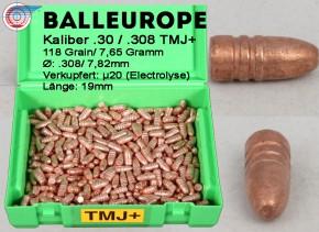 .308 .30 500 x kupfermantel Geschosse 7.62 Gramm 118 Grains  Balleurope TMJ+ RN FP L96