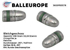 .357 Magnum 38 Special: 500 Stück Bleigeschosse Rundegeschoßspitze, Bevel Base: 158 Grain 10,24 Gramm Balleurope, K14