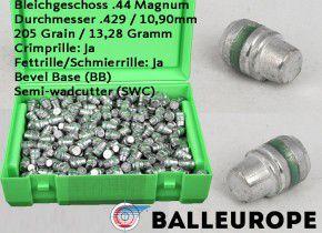 .44 Magnum : 205 Grain 13,28 Gramm 500 Blei Geschosse von Balleurope 10,90mm Crimp Fettrille Semi-Wadcutter Bevel-Base