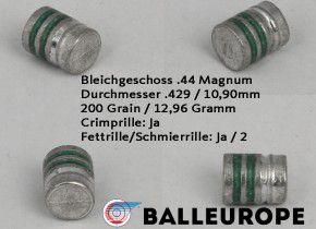 .44 Magnum : 200 Grain 12,96 Gramm 500 Blei Geschosse von Balleurope 10,90mm Crimp Fettrille Wadcutter Revolver