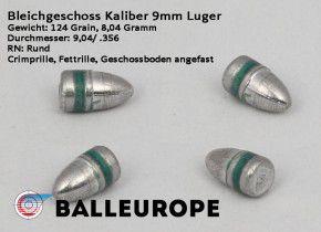 500 Stück 9mm Luger Match Geschosse 135G  TC Truncated Fettrille BB Bevel Base von Balleurope