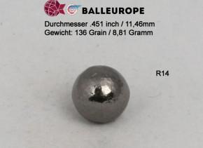 250 Blei Geschoße Rundkugeln Ø .451 11,46mm 136 Grains 8,81 Gramm Perkussion Revolver Balleurope R14