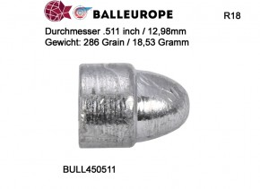 150 Geschosse .511: Ø 12,98mm .511, 286 Grain 15,53 Gramm Perkussion Balleurope R18