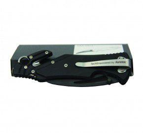 Seglermesser Messer Ara_Tact N/S schwarz Antonini mit Hawkbillklinge aus D2 mit Teilwellenschliff & abgerundete Spitze Gurtschneider & Glasbrecher. Linerlock Verriegelung Schäkelöffner Segelmesser