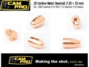 .30 Carbine: 500 Geschosse .30 Carbine 110 Grain / 7,13 Gramm