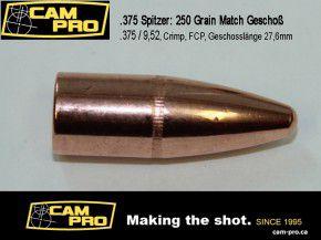 .375 Spitzer: 250 Geschosse .375 250 Grain / 16,20 Gramm, Dia: .375mm 9,52Campro