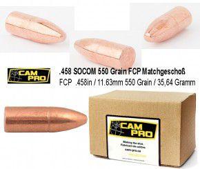 458: 125 Stück Geschoße .458 SOCOM 550 Grains, 35,64 Gramm Bullet 45 Caliber 458 Diameter Geschoss FCP