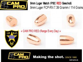 9mm: 1000 Stück 9mm Luger Match Geschosse 114 Grain, 7,39 Gramm Sonderpack RED