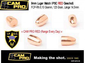 9mm: 1000 Stück 9mm Luger Match Geschosse 125 Grain, 8,10 Gramm Sonderpack RED
