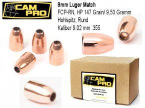 9mm: 500 Stück 9mm Luger 147 Grain, 9,53 Gramm Hohlspitz FCP RN Geschoß
