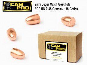 9mm: 500 Stück 9mm Match Geschosse FCP RN 115 Grain 7,45 Gramm. Kaliber 9mm Luger FCP RN  Vollmantel von CamPro Kurzwaffe Pistole