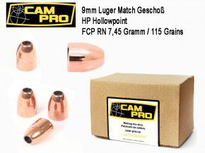 9mm: 500 Stück 9mm Match Geschosse 115 Grain 7,45 Gramm Hohlspitz FCP RN . Kaliber 9mm Luger FCP RN  Vollmantel von CamPro Kurzwaffe Pistole