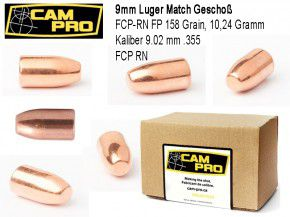 9mm: 500 Stück 9mm Match Geschosse FCP RN 158 Grain 10,24 Gramm. Kaliber 9mm Luger FCP RN Vollmantel von CamPro