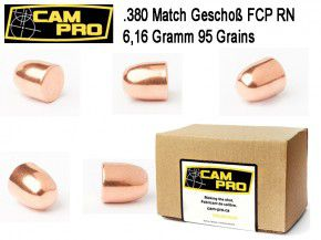 .380: 500 x Geschoße .380 95 Grain 6,16 Gramm RN FCP Matchgeschoß CamPro 380 ACP Colt .355 9,017 K57